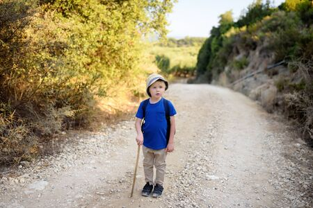 Little boy is hiking in Greece, west Peloponnese, Kyllini. 版權商用圖片