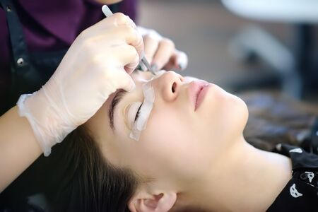 Beautician making eyelash lamination procedures. Modern eyelash care treatment procedures - staining, curling, laminating and extension for lashes. Professional beauty salon.