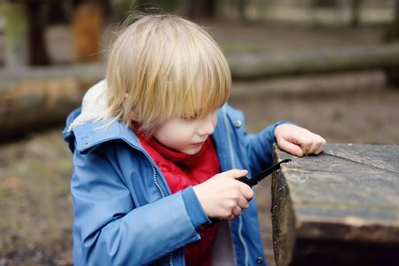 Little boy saws log with a small penknife while walking in the forest at spring or autumn. Outdoors activities for children. Archivio Fotografico