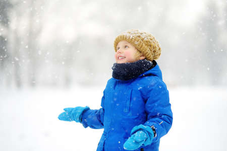 Little boy having fun playing with fresh snow during snowfall. Baby catching snowflakes on gloves. Kid dressed in warm clothes, hat, hand gloves and scarf. Active winter outdoors leisure for child