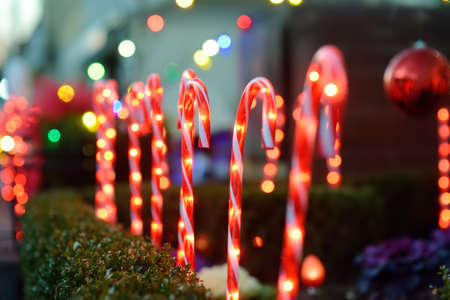 Close-up photo of Christmas and New Year decorations. Fence decorated with a garland like candy stick cane. Stylish outdoor Xmas decorations