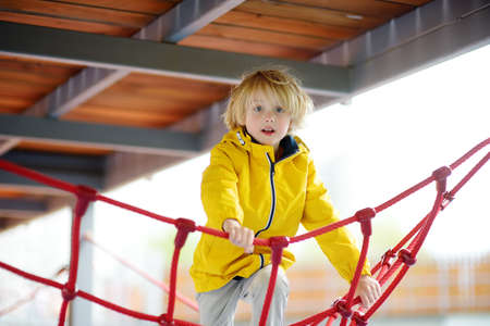 Cute preschooler boy having fun on outdoor playground. Spring / summer / autumn active sport leisure for kids. Activity for family with children. Equipment of entertainment park for kids.