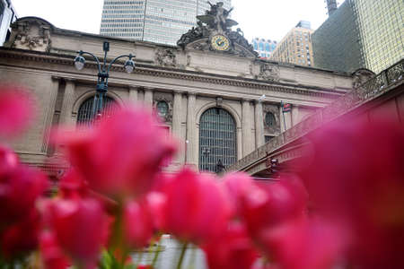 Grand Central Station Terminal building exterior on summer day, 42nd Street in midtown of Manhattan, New York City. Travel, tourism, sightseeing of nyc.