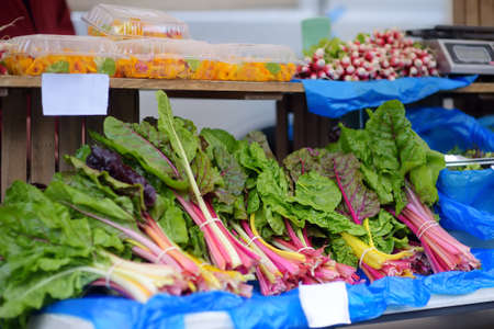 Fresh bio herbs on street farmer market. Typical local agricultural fair of weekend. Sale of bunch organic beet tops