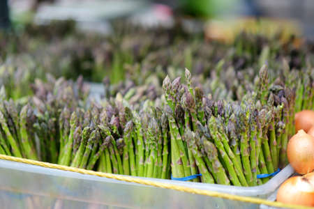 Fresh bio herbs and vegetables on street farmer market. Typical local agricultural fair of weekend. Sale of organic asparagus. Small business