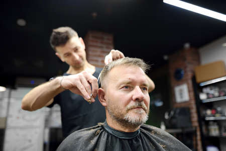 Hairdresser is cutting hair of handsome bearded mature man in salon. Stylist making hairstyle for client in barbershop. Services of a professional stylist. Fashion haircut for men