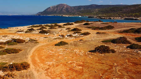 Aerial view of Akamas Peninsula National Park, near of Aphrodite bay, Cyprus. Lovely place for outdoor adventure for tourists Standard-Bild