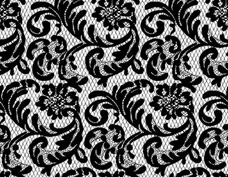 Patrón de encaje negro vector transparente