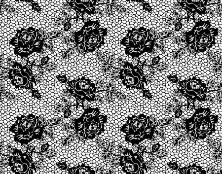 Naadloos Vector Zwart Kantpatroon