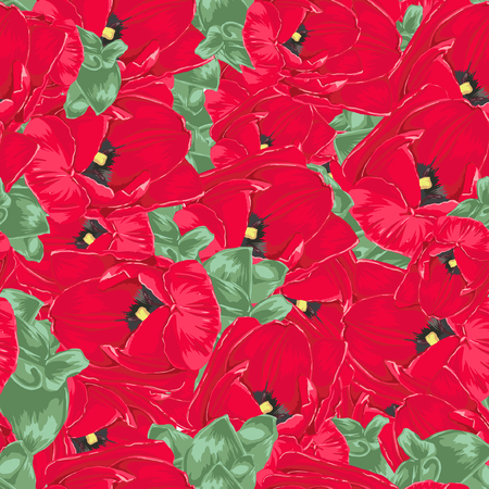 fabric textures: Seamless Vector Red Tulips Pattern Illustration