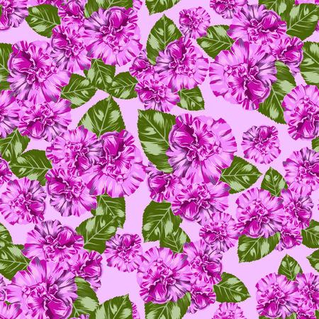 Seamless Vector Pink Petunia Pattern Illustration