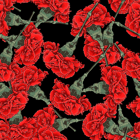 fabric textures: Seamless Vector Red Carnations Pattern Illustration