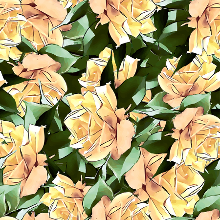 fabric textures: Seamless Vector Yellow Roses Pattern Illustration