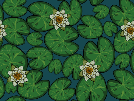 A Seamless Vector. Pond With Water Lily Pattern