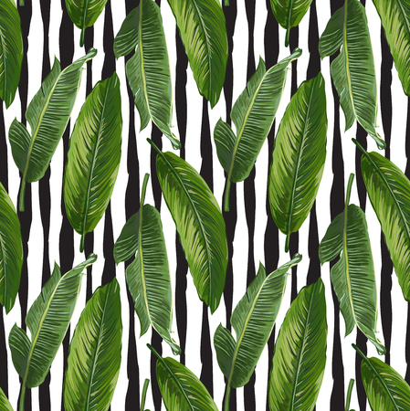 natures: Seamless Vector Banana Leaves Pattern Illustration