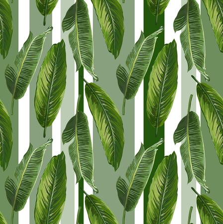 Patrón transparente de las hojas de plátano del vector