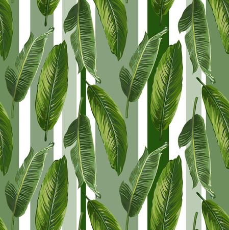 Seamless Vector Banana Leaves Pattern Illustration