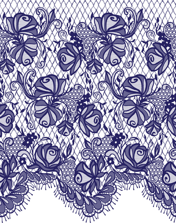 abstract flowers: Seamless Vector Blue Lace Pattern