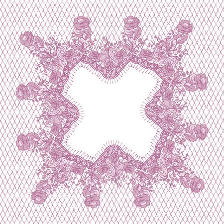 background textures: A Vector Pink Lace Frame illustration. Illustration