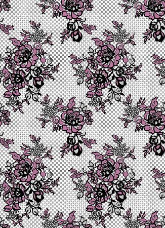 Seamless Vector Black And Pink Lace Pattern Ilustração