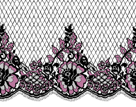 Seamless Vector Pink And Black Lace Pattern Illustration