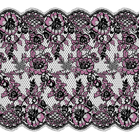 background textures: Seamless Vector Pink And Black Lace Pattern Illustration