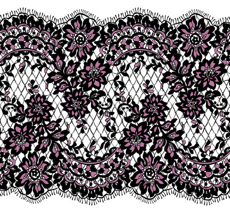 repetition: Seamless Vector Black And Pink Lace Pattern Illustration
