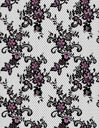 background textures: Seamless Vector Black And Pink Lace Pattern Illustration