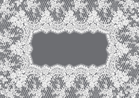 background textures: A Vector White Lace Frame illustration.