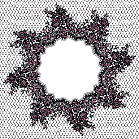 background textures: A Vector Black And Pink Lace Frame illustration.