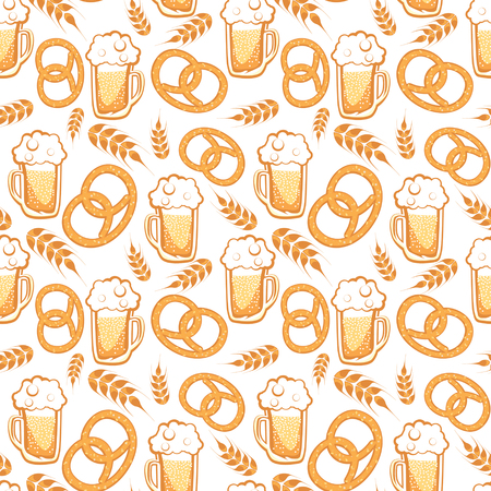 Seamless Vector Beer And Pretzel Pattern