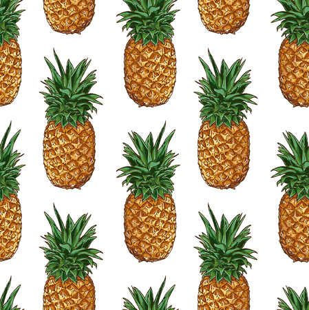 Seamless Vector Pineapple Pattern  イラスト・ベクター素材
