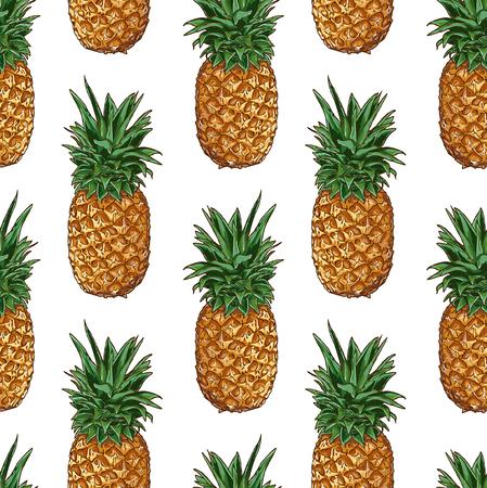 Seamless Vector Pineapple Pattern Illustration
