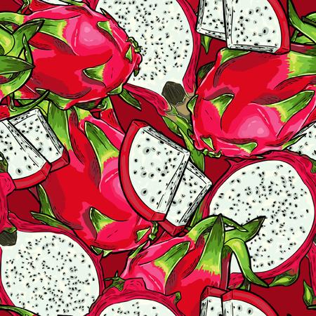 Seamless Vector Dragon Fruit Pattern