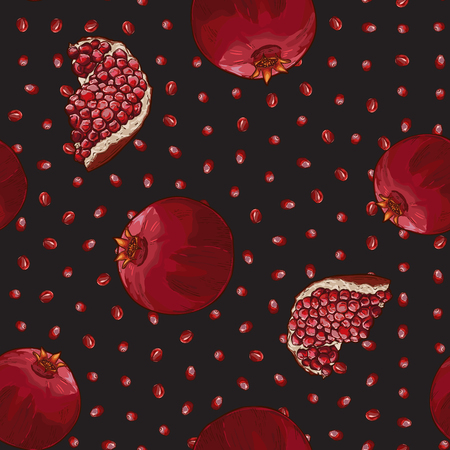 Seamless Vector Pomegranate Pattern