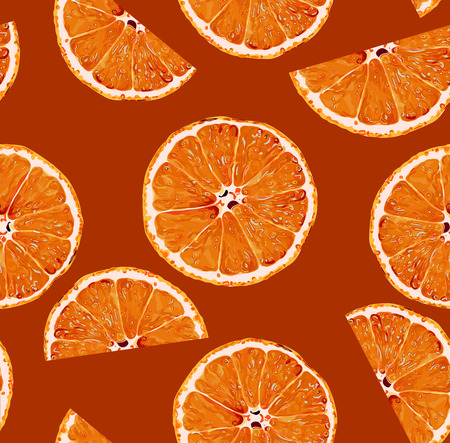Seamless Vector Orange Slices Pattern