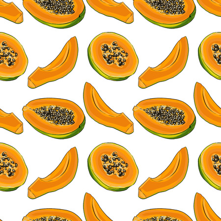 Seamless Vector Papaya Pattern
