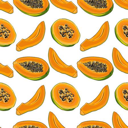 Seamless Vector Papaya Pattern