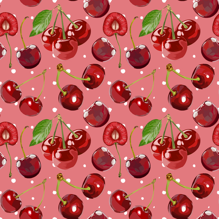 Seamless Vector Cherry Pattern