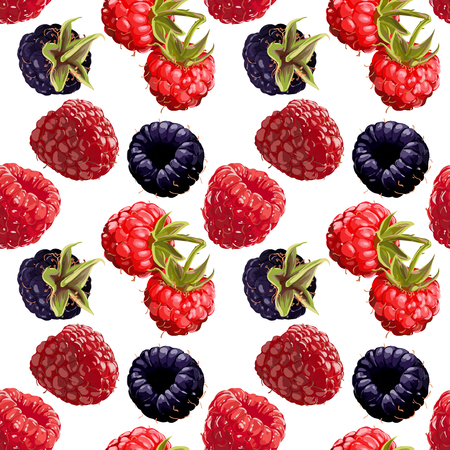Seamless Vector Raspberry And Blackberry Pattern