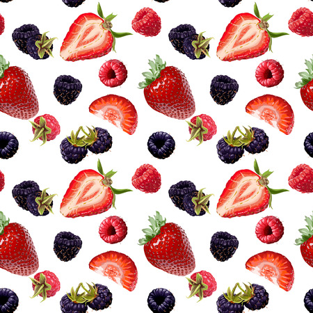 Seamless Vector Strawberry, Blackberry And Raspberry Pattern Illustration