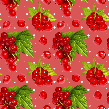 a sprig: Seamless Vector Red Currant Pattern Illustration