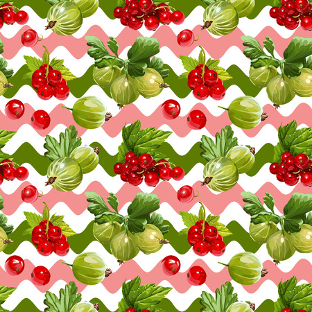 Seamless Vector Red Currant And Gooseberry Pattern Illustration