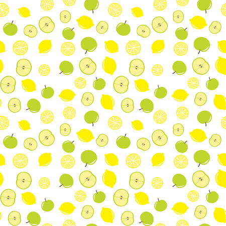 Seamless Vector Apple And Lemon Pattern Illustration