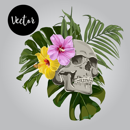 Vector Skull With Leaves And Flowers Illustration