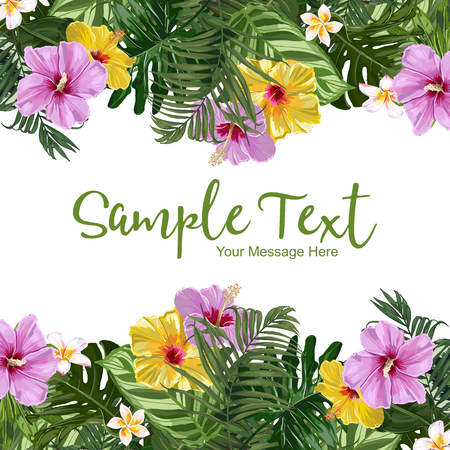 Vector Hibiscus And Exotic Leaves Frame