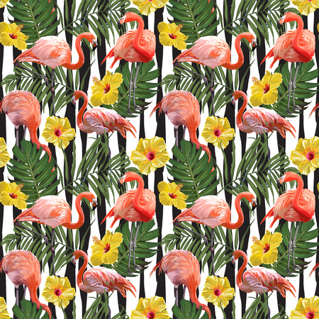 Seamless Vector Flamingo With Hibiscus And Leaves Pattern
