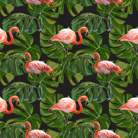 Seamless Vector Flamingo With Leaves Pattern