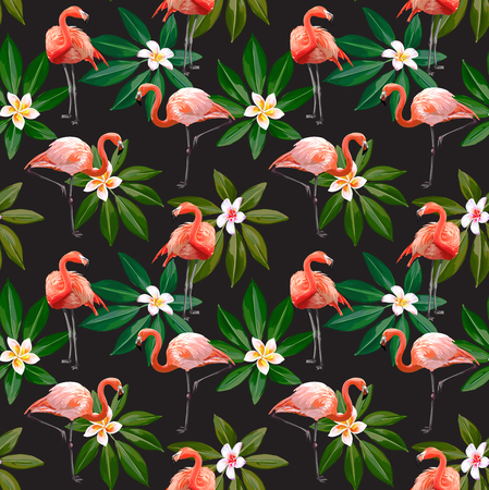 Seamless Vector Flamingo With Leaves And Flowers Pattern
