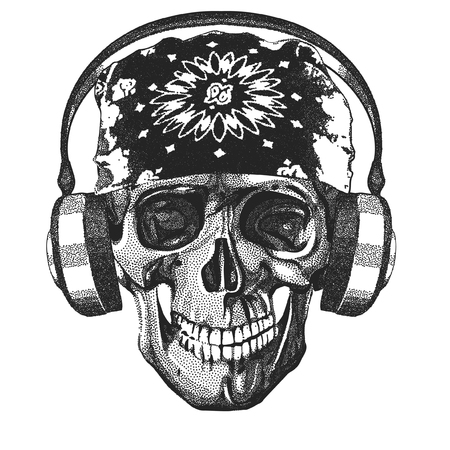Vector Dot Skull With Headphones Illustration
